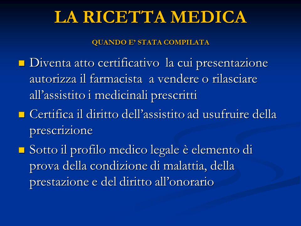 LA RICETTA MEDICA QUANDO E STATA COMPILATA Diventa atto certificativo la cui presentazione autorizza il farmacista a vendere o rilasciare allassistito