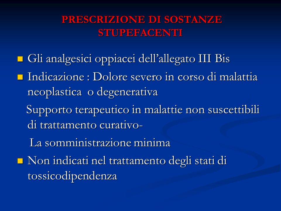PRESCRIZIONE DI SOSTANZE STUPEFACENTI PRESCRIZIONE DI SOSTANZE STUPEFACENTI Gli analgesici oppiacei dellallegato III Bis Gli analgesici oppiacei della