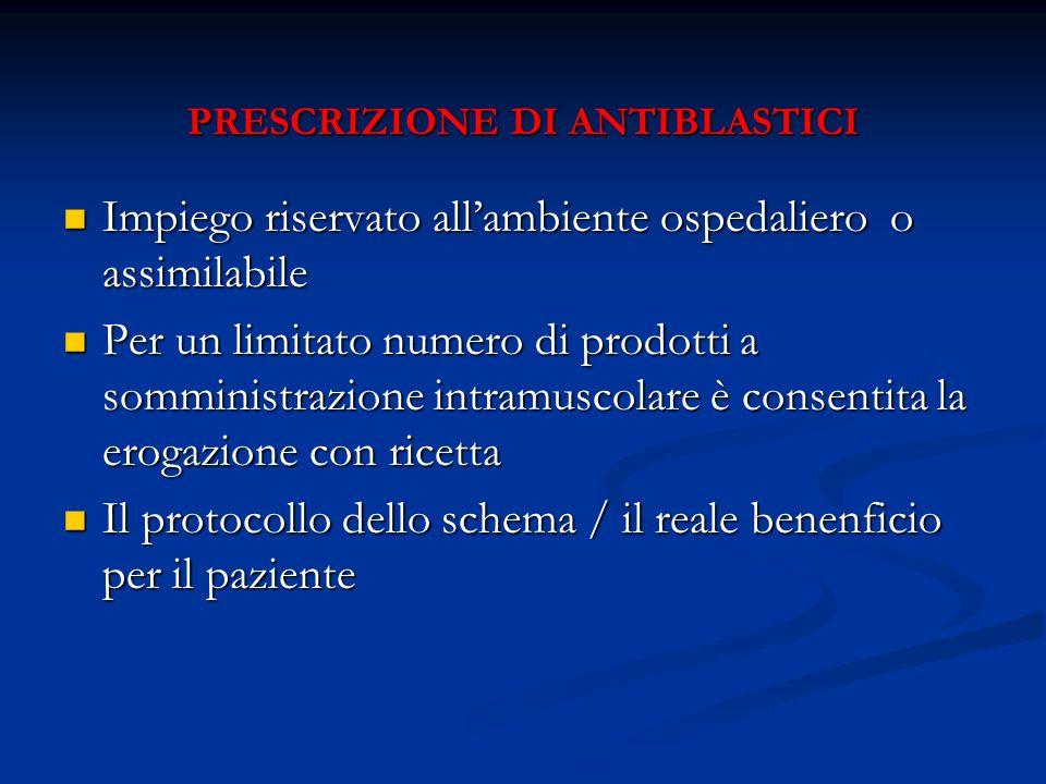 PRESCRIZIONE DI ANTIBLASTICI PRESCRIZIONE DI ANTIBLASTICI Impiego riservato allambiente ospedaliero o assimilabile Impiego riservato allambiente osped