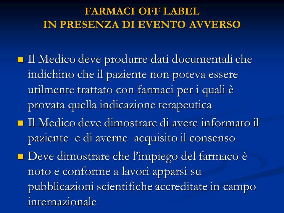 FARMACI OFF LABEL IN PRESENZA DI EVENTO AVVERSO Il Medico deve produrre dati documentali che indichino che il paziente non poteva essere utilmente tra