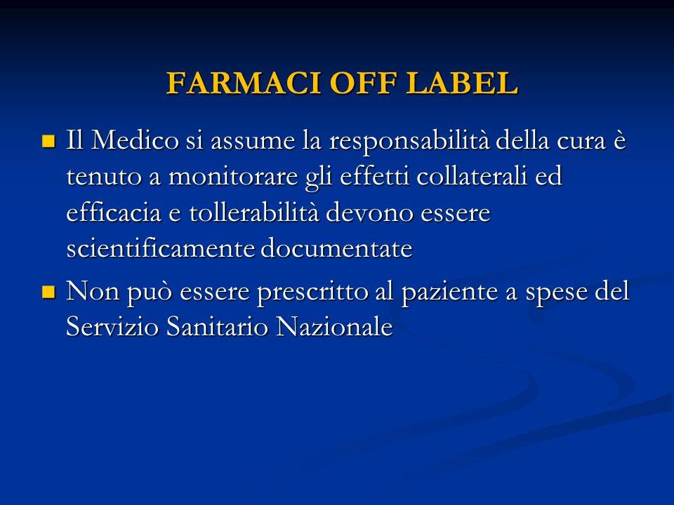 FARMACI OFF LABEL FARMACI OFF LABEL Il Medico si assume la responsabilità della cura è tenuto a monitorare gli effetti collaterali ed efficacia e toll