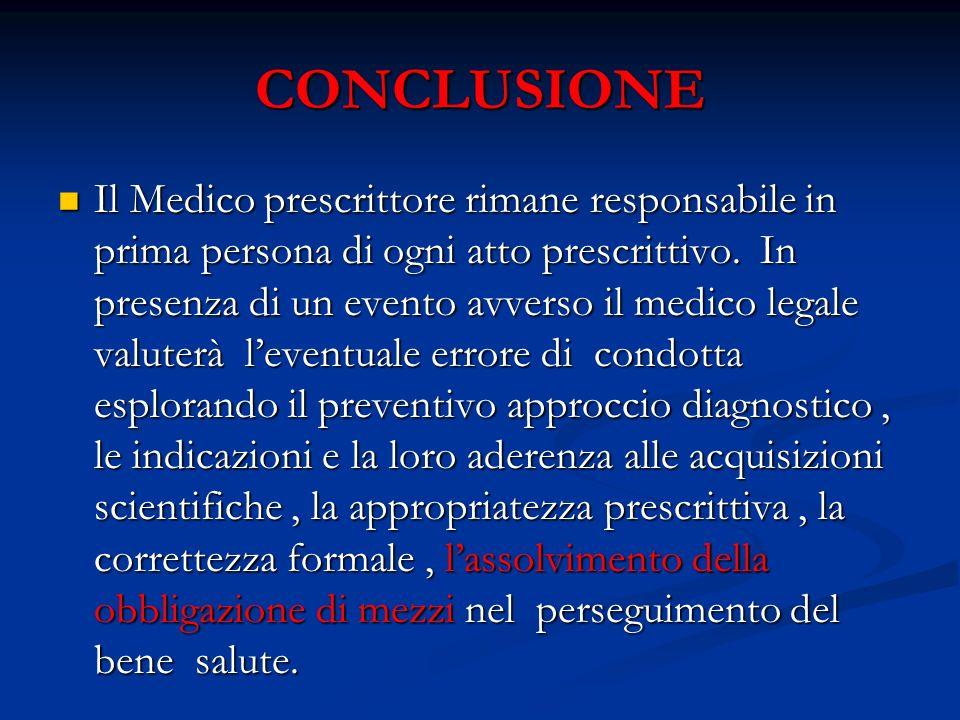 CONCLUSIONE Il Medico prescrittore rimane responsabile in prima persona di ogni atto prescrittivo. In presenza di un evento avverso il medico legale v