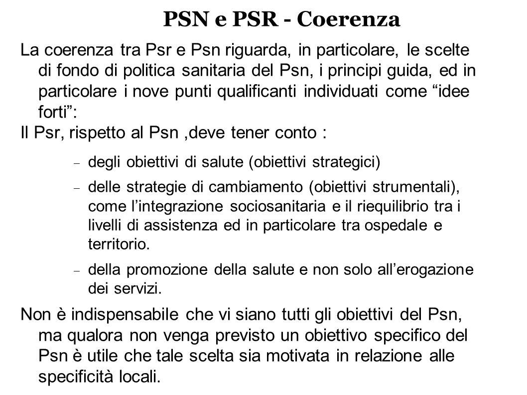 PSN e PSR - Coerenza La coerenza tra Psr e Psn riguarda, in particolare, le scelte di fondo di politica sanitaria del Psn, i principi guida, ed in particolare i nove punti qualificanti individuati come idee forti: Il Psr, rispetto al Psn,deve tener conto : degli obiettivi di salute (obiettivi strategici) delle strategie di cambiamento (obiettivi strumentali), come lintegrazione sociosanitaria e il riequilibrio tra i livelli di assistenza ed in particolare tra ospedale e territorio.