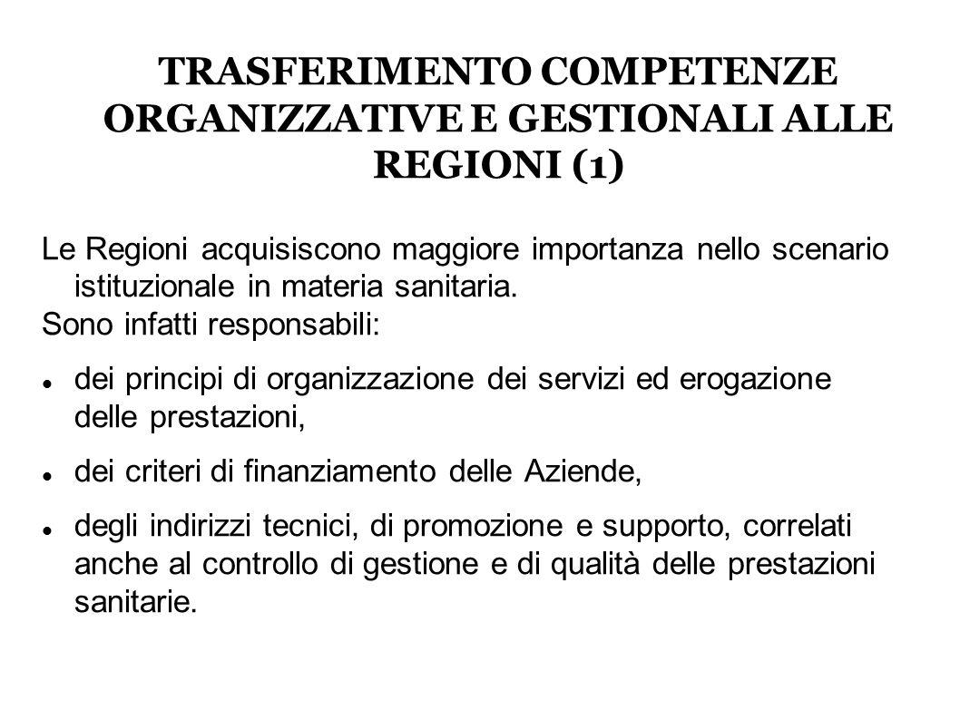 TRASFERIMENTO COMPETENZE ORGANIZZATIVE E GESTIONALI ALLE REGIONI (1) Le Regioni acquisiscono maggiore importanza nello scenario istituzionale in materia sanitaria.