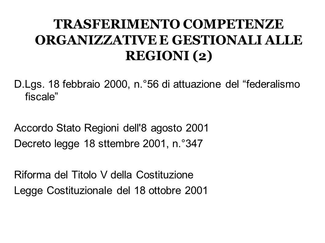 TRASFERIMENTO COMPETENZE ORGANIZZATIVE E GESTIONALI ALLE REGIONI (2) D.Lgs.