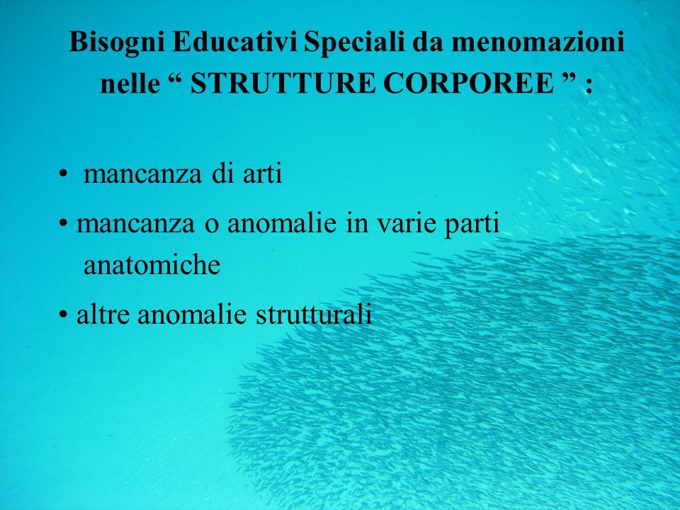 Bisogni Educativi Speciali da menomazioni nelle STRUTTURE CORPOREE : mancanza di arti mancanza o anomalie in varie parti anatomiche altre anomalie str