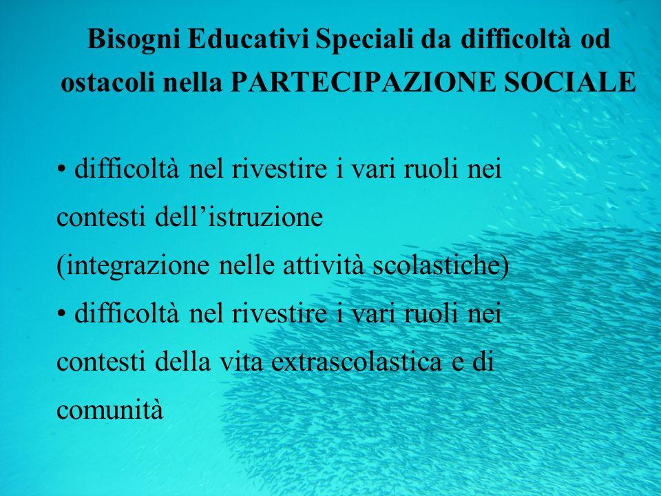 Bisogni Educativi Speciali da difficoltà od ostacoli nella PARTECIPAZIONE SOCIALE difficoltà nel rivestire i vari ruoli nei contesti dellistruzione (i