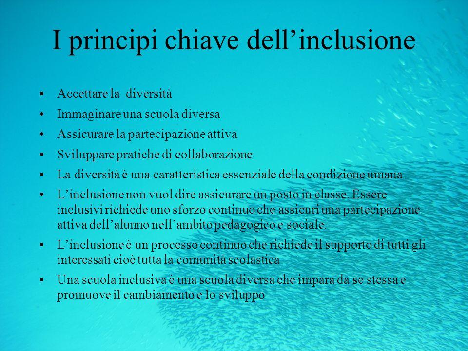 I principi chiave dellinclusione Accettare la diversità Immaginare una scuola diversa Assicurare la partecipazione attiva Sviluppare pratiche di colla
