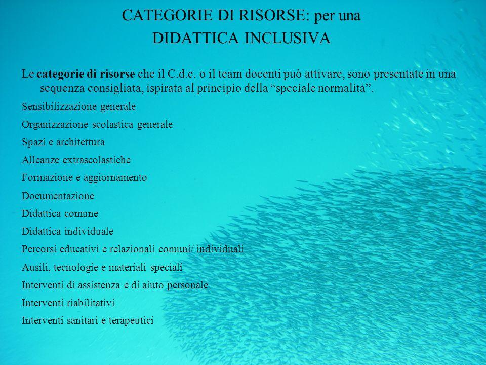 CATEGORIE DI RISORSE: per una DIDATTICA INCLUSIVA Le categorie di risorse che il C.d.c. o il team docenti può attivare, sono presentate in una sequenz