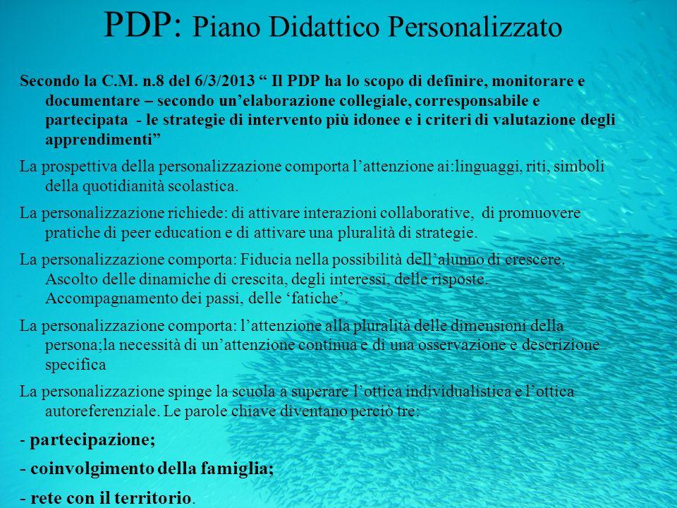PDP: Piano Didattico Personalizzato Secondo la C.M. n.8 del 6/3/2013 Il PDP ha lo scopo di definire, monitorare e documentare – secondo unelaborazione
