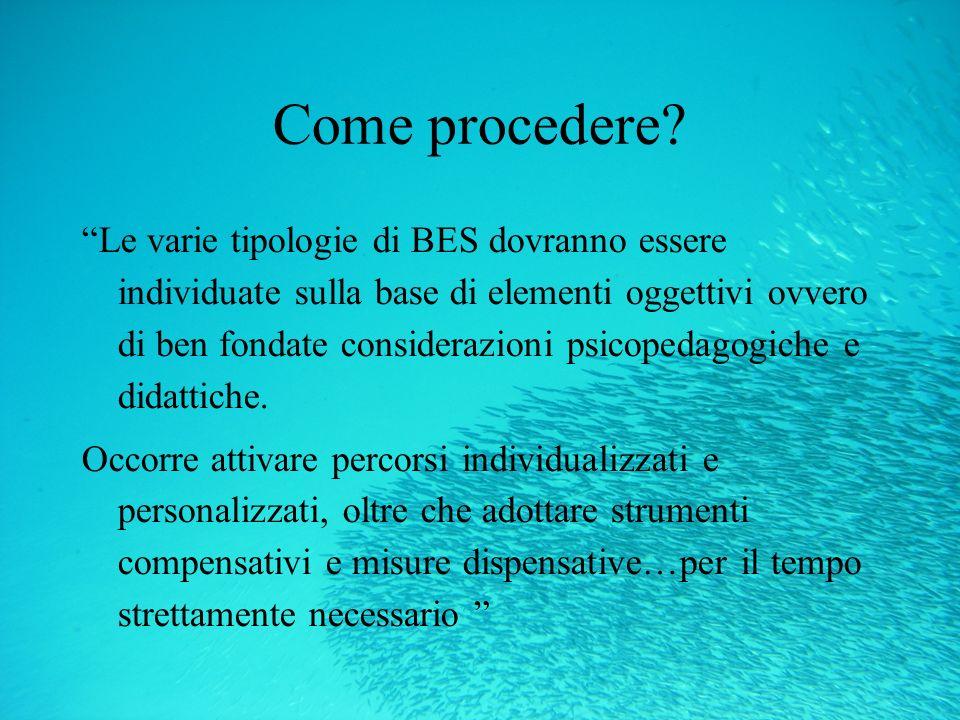 Come procedere? Le varie tipologie di BES dovranno essere individuate sulla base di elementi oggettivi ovvero di ben fondate considerazioni psicopedag
