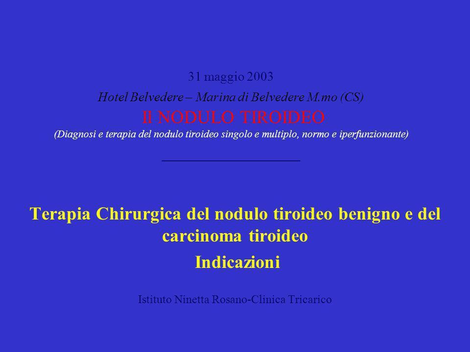 Terapia Chirurgica del nodulo tiroideo benigno Indicazioni Nodulo singolo normofunzionante con sintomatologia locale: EMITIROIDECTOMIA Nodulo singolo tossico: EMITIROIDECTOMIA Gozzo multinodulare tossico: TIROIDECTOMIA TOTALE Gozzo multinodulare normofunzionante con sintomatologia locale: TIROIDECTOMIA TOTALE