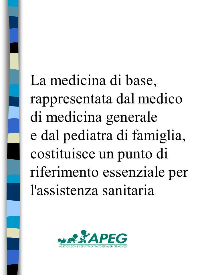 La medicina di base, rappresentata dal medico di medicina generale e dal pediatra di famiglia, costituisce un punto di riferimento essenziale per l assistenza sanitaria