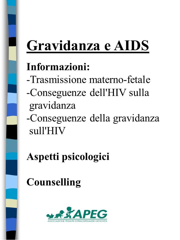 Gravidanza e AIDS Informazioni: -Trasmissione materno-fetale -Conseguenze dell HIV sulla gravidanza -Conseguenze della gravidanza sull HIV Aspetti psicologici Counselling