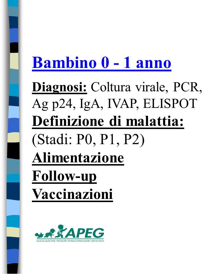 Bambino 0 - 1 anno Diagnosi: Coltura virale, PCR, Ag p24, IgA, IVAP, ELISPOT Definizione di malattia: (Stadi: P0, P1, P2) Alimentazione Follow-up Vaccinazioni