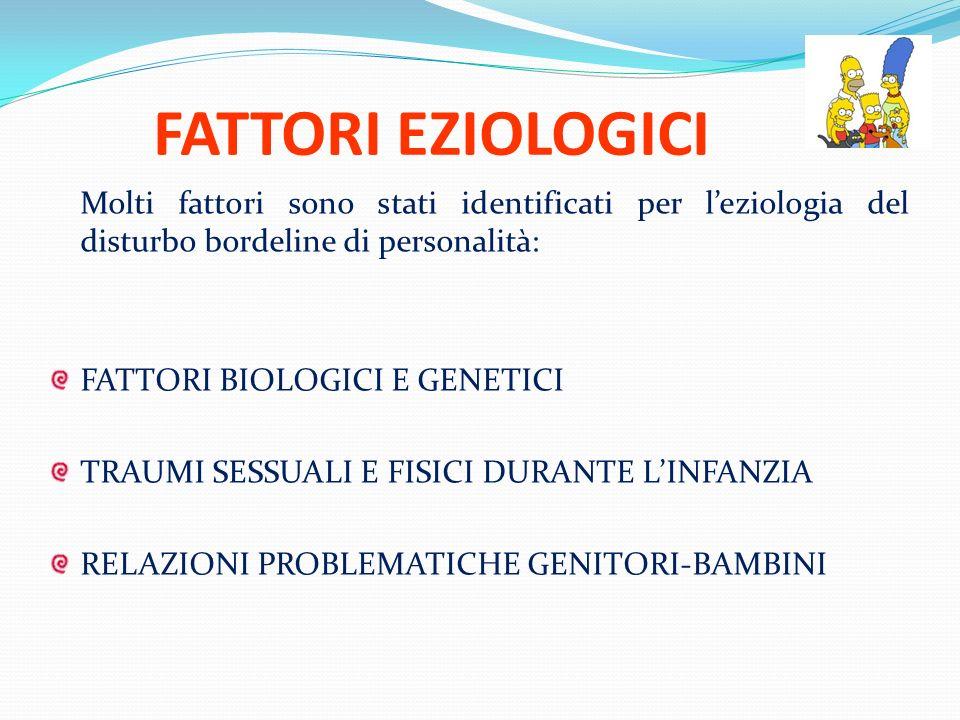 FATTORI EZIOLOGICI Molti fattori sono stati identificati per leziologia del disturbo bordeline di personalità: FATTORI BIOLOGICI E GENETICI TRAUMI SES