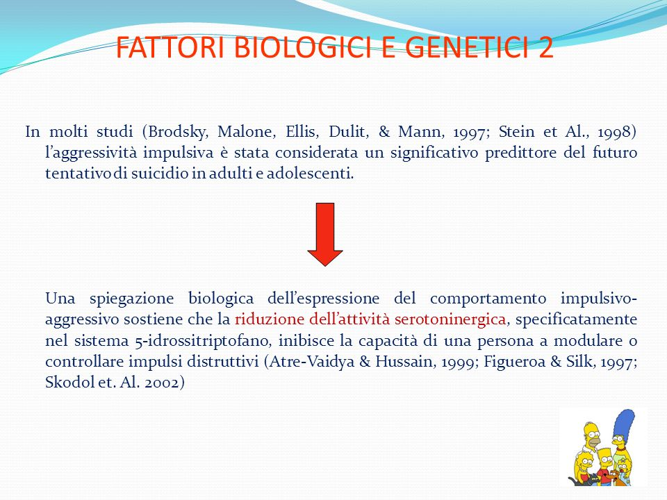 FATTORI BIOLOGICI E GENETICI 2 In molti studi (Brodsky, Malone, Ellis, Dulit, & Mann, 1997; Stein et Al., 1998) laggressività impulsiva è stata consid