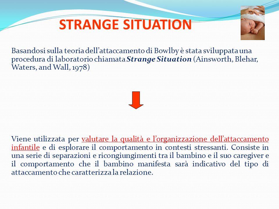 STRANGE SITUATION Basandosi sulla teoria dellattaccamento di Bowlby è stata sviluppata una procedura di laboratorio chiamata Strange Situation (Ainswo