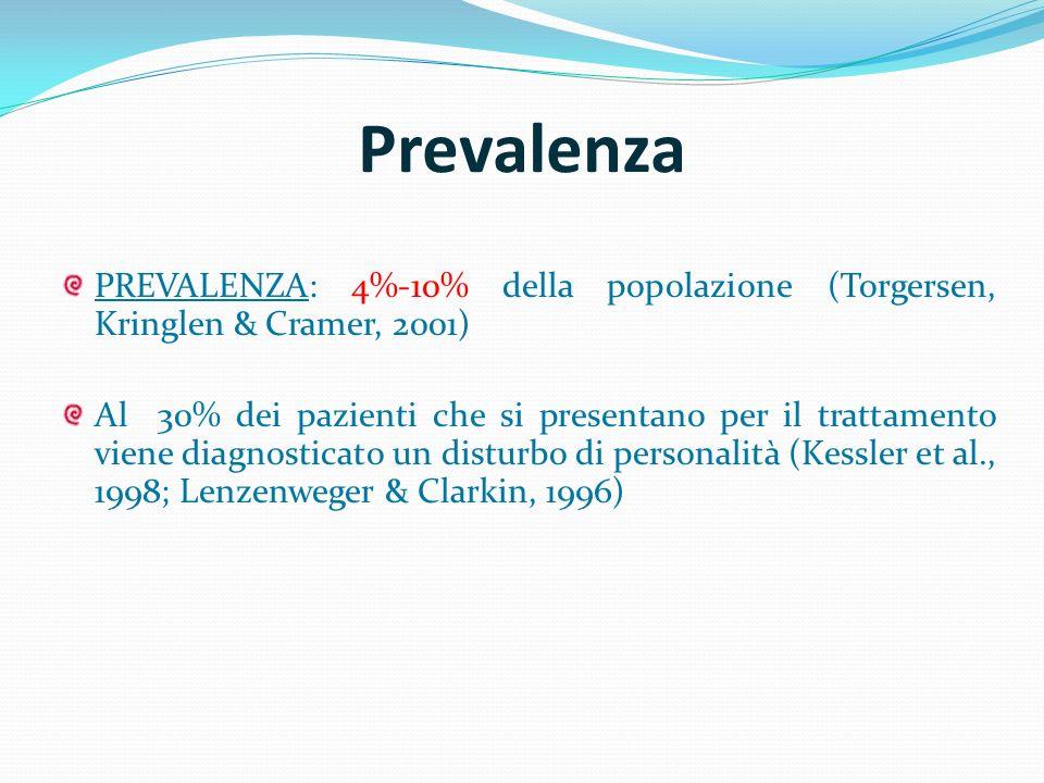 Prevalenza PREVALENZA: 4%-10% della popolazione (Torgersen, Kringlen & Cramer, 2001) Al 30% dei pazienti che si presentano per il trattamento viene di