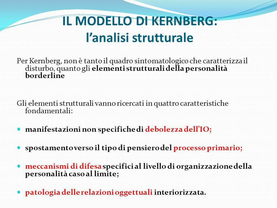 IL MODELLO DI KERNBERG: lanalisi strutturale Per Kernberg, non è tanto il quadro sintomatologico che caratterizza il disturbo, quanto gli elementi str