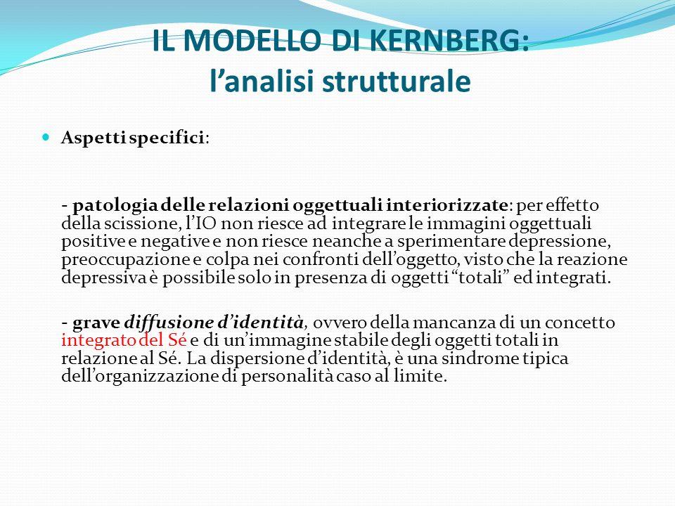 IL MODELLO DI KERNBERG: lanalisi strutturale Aspetti specifici: - patologia delle relazioni oggettuali interiorizzate: per effetto della scissione, lI