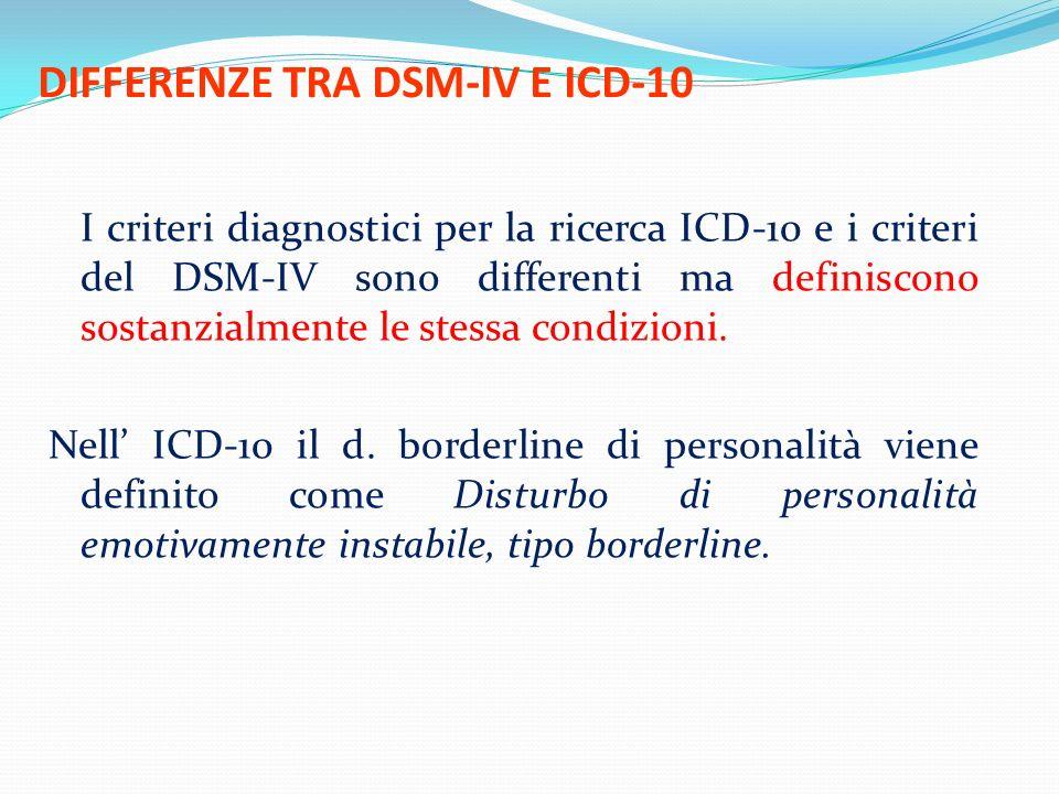 DIFFERENZE TRA DSM-IV E ICD-10 I criteri diagnostici per la ricerca ICD-10 e i criteri del DSM-IV sono differenti ma definiscono sostanzialmente le st