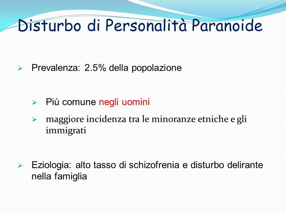 Prevalenza: 2.5% della popolazione Più comune negli uomini maggiore incidenza tra le minoranze etniche e gli immigrati Eziologia: alto tasso di schizo