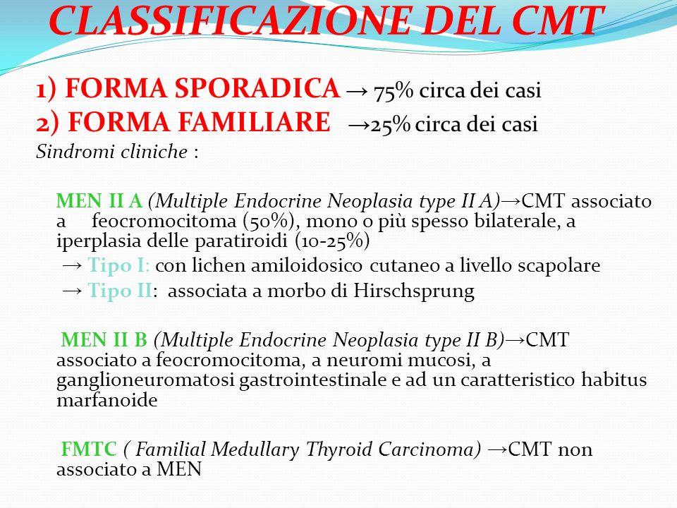CLASSIFICAZIONE DEL CMT 1) FORMA SPORADICA 75% circa dei casi 2) FORMA FAMILIARE 25% circa dei casi Sindromi cliniche : MEN II A (Multiple Endocrine Neoplasia type II A) CMT associato a feocromocitoma (50%), mono o più spesso bilaterale, a iperplasia delle paratiroidi (10-25%) Tipo I: con lichen amiloidosico cutaneo a livello scapolare Tipo II: associata a morbo di Hirschsprung MEN II B (Multiple Endocrine Neoplasia type II B) CMT associato a feocromocitoma, a neuromi mucosi, a ganglioneuromatosi gastrointestinale e ad un caratteristico habitus marfanoide FMTC ( Familial Medullary Thyroid Carcinoma) CMT non associato a MEN