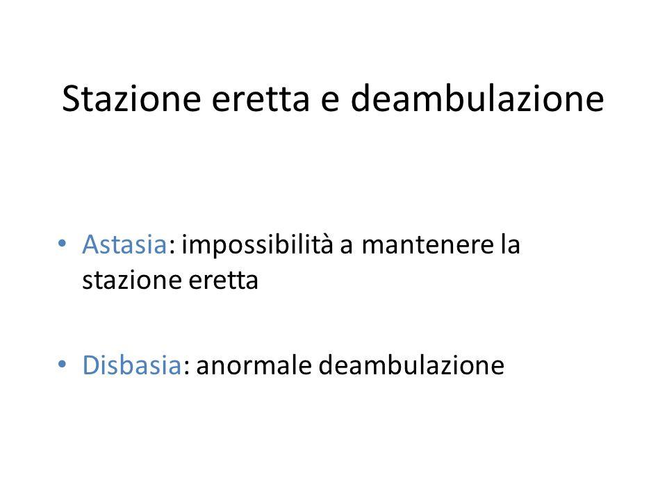 Stazione eretta e deambulazione Astasia: impossibilità a mantenere la stazione eretta Disbasia: anormale deambulazione