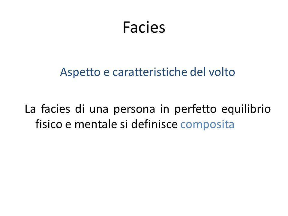 Facies Aspetto e caratteristiche del volto La facies di una persona in perfetto equilibrio fisico e mentale si definisce composita
