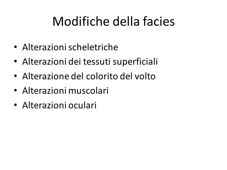 Modifiche della facies Alterazioni scheletriche Alterazioni dei tessuti superficiali Alterazione del colorito del volto Alterazioni muscolari Alterazi