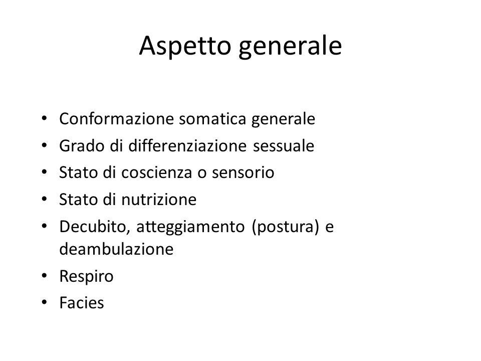 Aspetto generale Conformazione somatica generale Grado di differenziazione sessuale Stato di coscienza o sensorio Stato di nutrizione Decubito, attegg