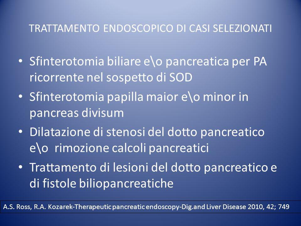 TRATTAMENTO ENDOSCOPICO DI CASI SELEZIONATI Sfinterotomia biliare e\o pancreatica per PA ricorrente nel sospetto di SOD Sfinterotomia papilla maior e\o minor in pancreas divisum Dilatazione di stenosi del dotto pancreatico e\o rimozione calcoli pancreatici Trattamento di lesioni del dotto pancreatico e di fistole biliopancreatiche A.S.
