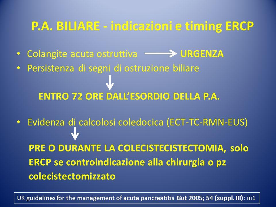 P.A. BILIARE - indicazioni e timing ERCP Colangite acuta ostruttiva URGENZA Persistenza di segni di ostruzione biliare ENTRO 72 ORE DALLESORDIO DELLA