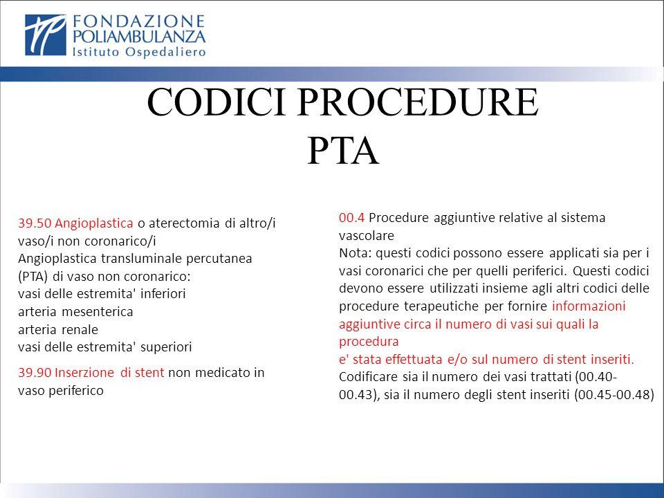 CODICI PROCEDURE PTA 39.50 Angioplastica o aterectomia di altro/i vaso/i non coronarico/i Angioplastica transluminale percutanea (PTA) di vaso non cor