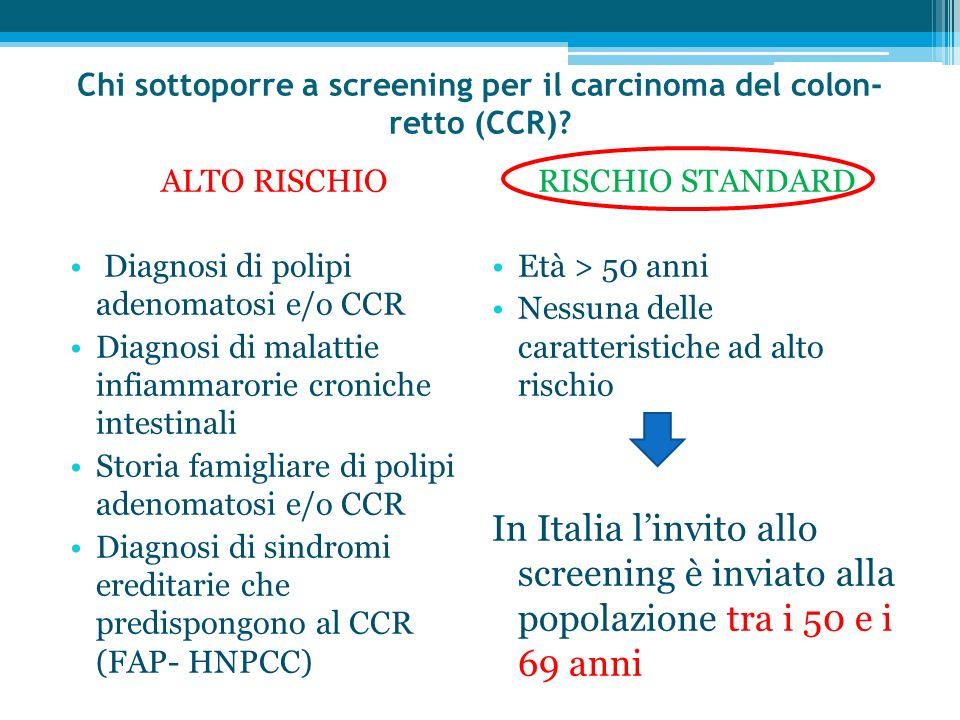 Chi sottoporre a screening per il carcinoma del colon- retto (CCR)? ALTO RISCHIO Diagnosi di polipi adenomatosi e/o CCR Diagnosi di malattie infiammar