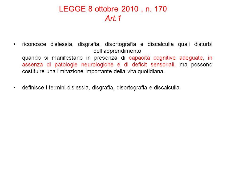 LEGGE 8 ottobre 2010, n. 170 Art.1 riconosce dislessia, disgrafia, disortografia e discalculia quali disturbi dellapprendimento quando si manifestano