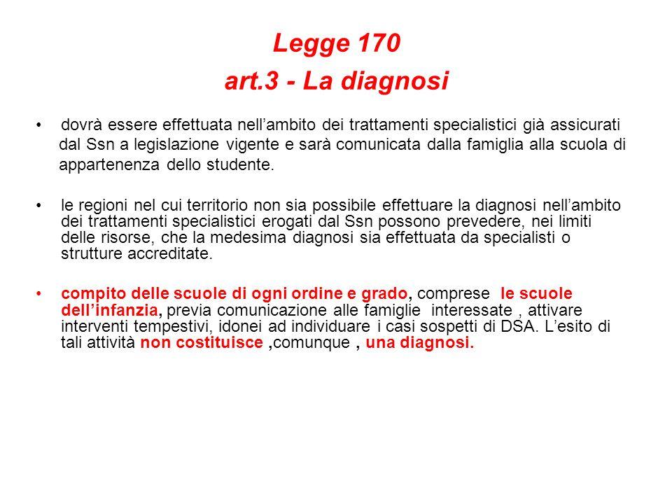Legge 170 art.3 - La diagnosi dovrà essere effettuata nellambito dei trattamenti specialistici già assicurati dal Ssn a legislazione vigente e sarà co