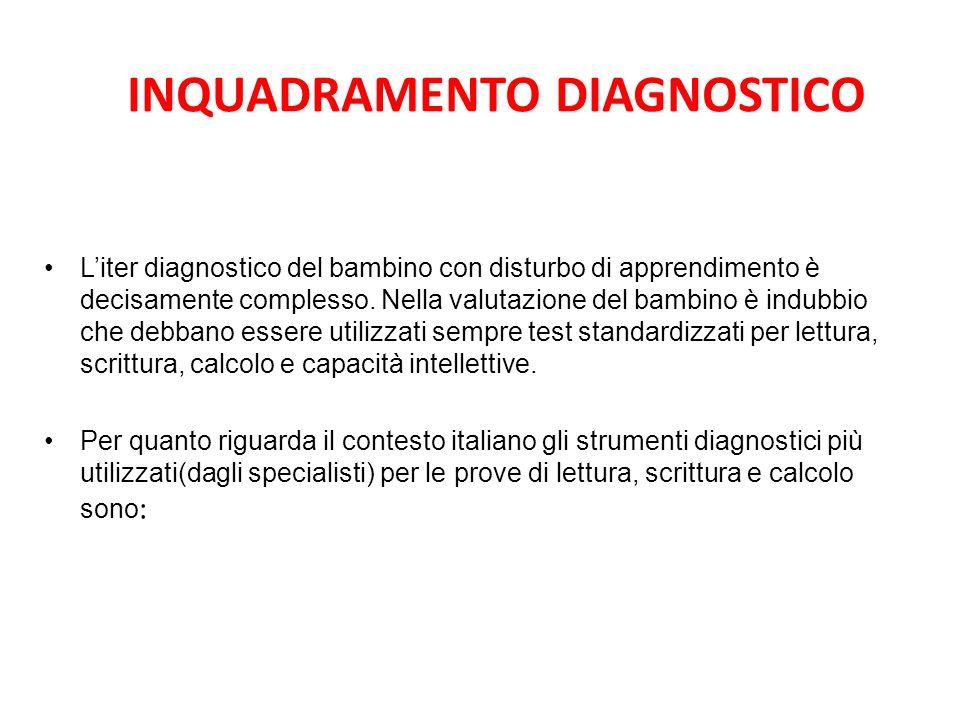 INQUADRAMENTO DIAGNOSTICO Liter diagnostico del bambino con disturbo di apprendimento è decisamente complesso. Nella valutazione del bambino è indubbi