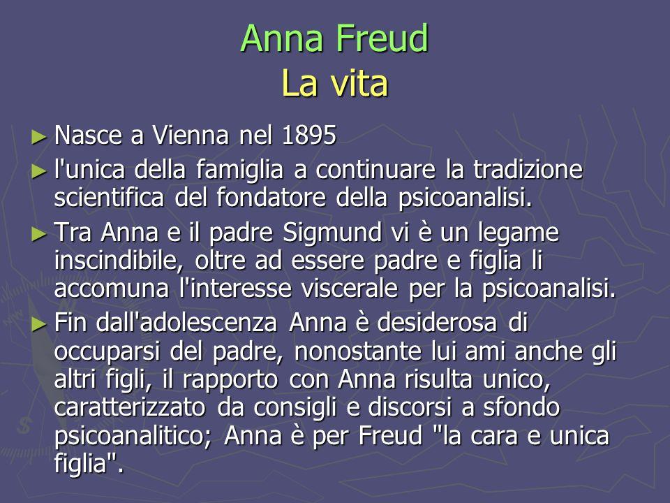 Anna Freud La vita Nasce a Vienna nel 1895 Nasce a Vienna nel 1895 l unica della famiglia a continuare la tradizione scientifica del fondatore della psicoanalisi.