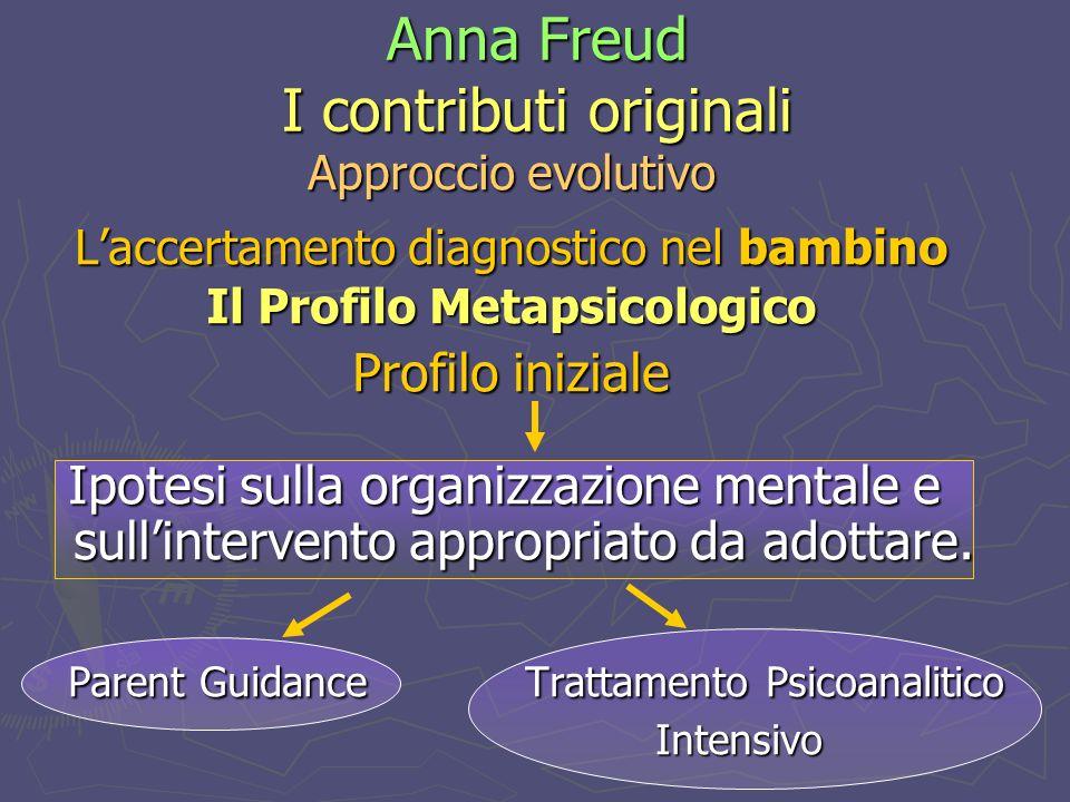 Anna Freud I contributi originali Approccio evolutivo Laccertamento diagnostico nel bambino Il Profilo Metapsicologico Profilo iniziale Ipotesi sulla organizzazione mentale e sullintervento appropriato da adottare.