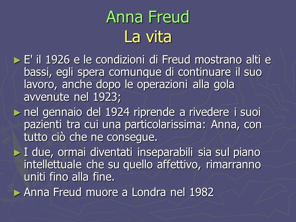 Anna Freud La vita Nel 1937 assieme a Dorothy Burlingham, organizzò a Vienna il primo asilo per bambini poveri sempre con una conduzione psicoanalitica.