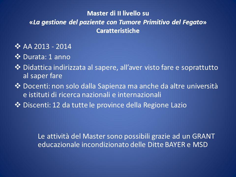 Master di II livello su «La gestione del paziente con Tumore Primitivo del Fegato» Caratteristiche AA 2013 - 2014 Durata: 1 anno Didattica indirizzata