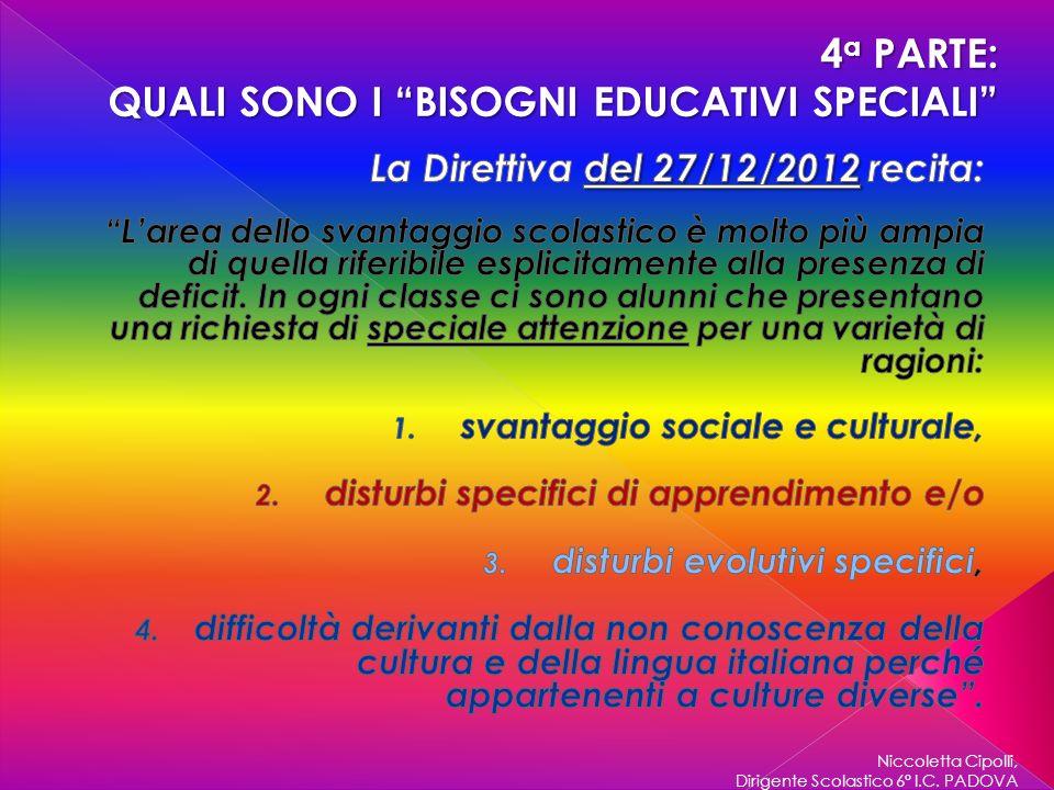 Niccoletta Cipolli, Dirigente Scolastico 6° I.C. PADOVA 4 a PARTE: QUALI SONO I BISOGNI EDUCATIVI SPECIALI