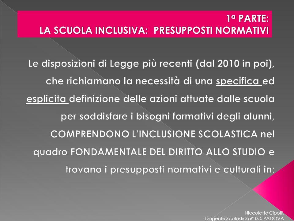 Niccoletta Cipolli, Dirigente Scolastico 6° I.C. PADOVA 1 a PARTE: LA SCUOLA INCLUSIVA: PRESUPPOSTI NORMATIVI LA SCUOLA INCLUSIVA: PRESUPPOSTI NORMATI