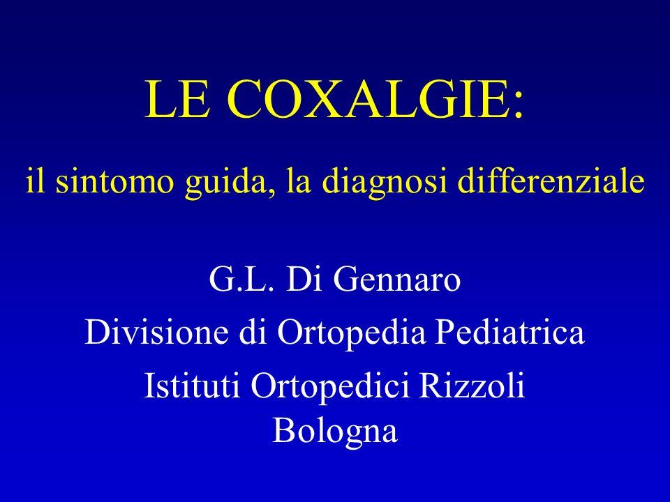 LE COXALGIE: il sintomo guida, la diagnosi differenziale G.L. Di Gennaro Divisione di Ortopedia Pediatrica Istituti Ortopedici Rizzoli Bologna