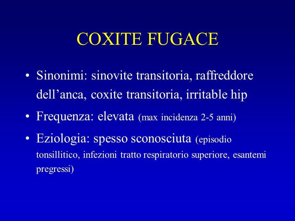 COXITE FUGACE Sinonimi: sinovite transitoria, raffreddore dellanca, coxite transitoria, irritable hip Frequenza: elevata (max incidenza 2-5 anni) Ezio