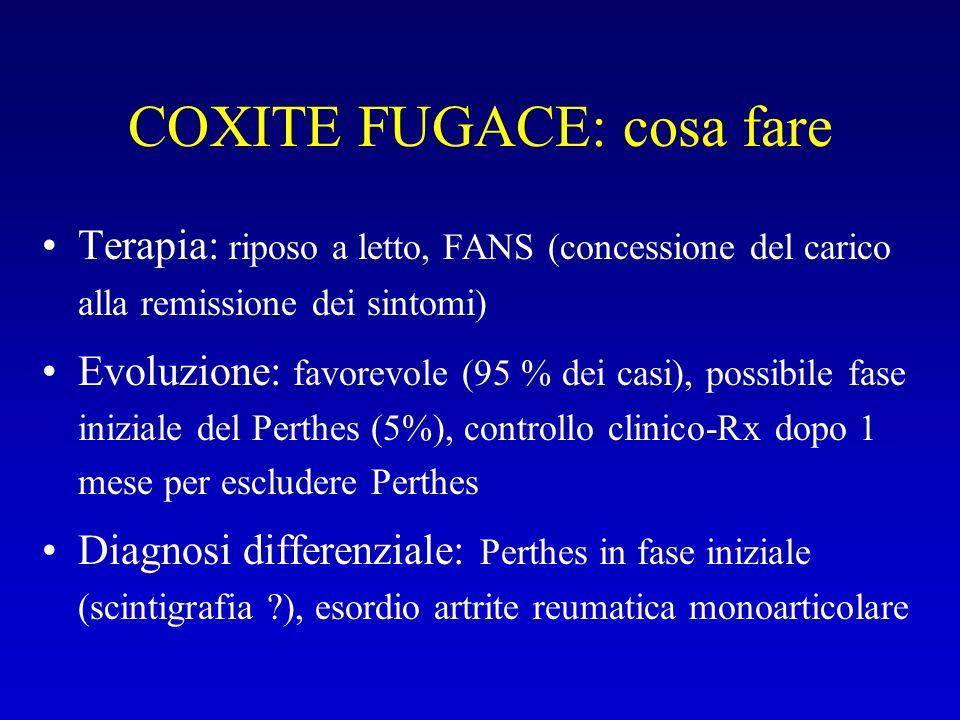 COXITE FUGACE: cosa fare Terapia: riposo a letto, FANS (concessione del carico alla remissione dei sintomi) Evoluzione: favorevole (95 % dei casi), po