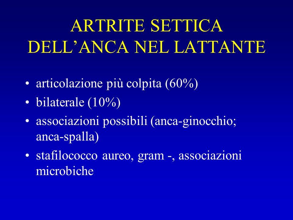 ARTRITE SETTICA DELLANCA NEL LATTANTE articolazione più colpita (60%) bilaterale (10%) associazioni possibili (anca-ginocchio; anca-spalla) stafilococ
