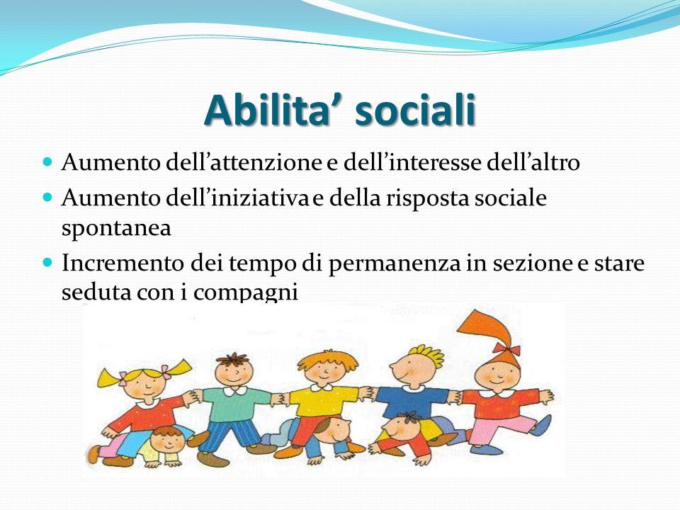 Abilita sociali Aumento dellattenzione e dellinteresse dellaltro Aumento delliniziativa e della risposta sociale spontanea Incremento dei tempo di per